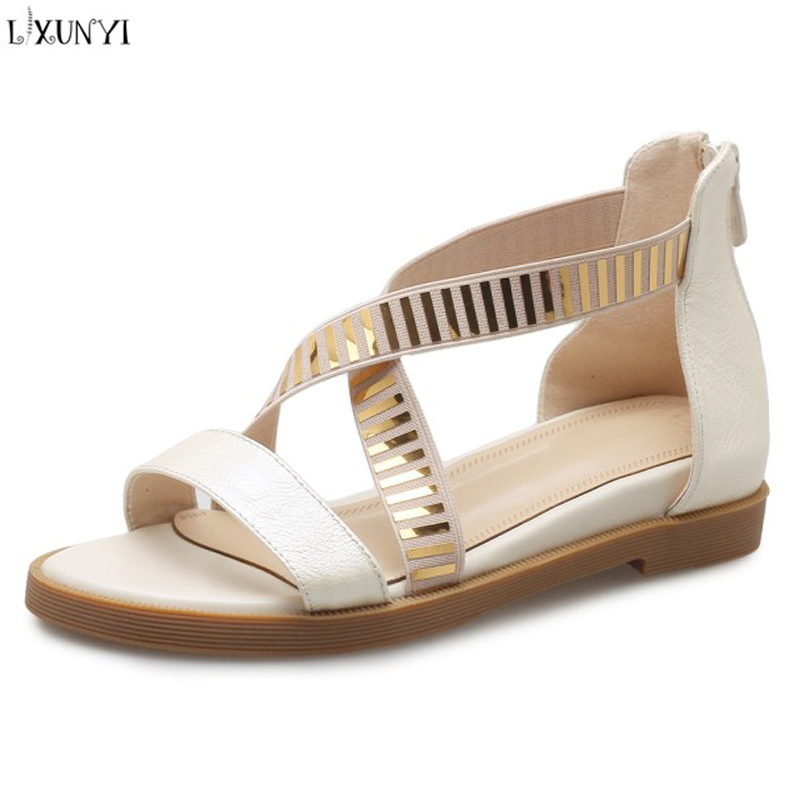 LXUNYI New Flat Sandals Leather Women Shoes Fashion 2018 Hollow Out Summer Sandles Ladies Shoes Black Gold Beige Female Sandals