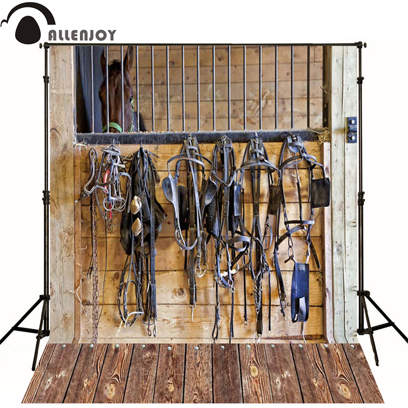 Allenjoy Photographic background Wood harness horse stables newborn vinyl backdrops lovely princess baby shower custom