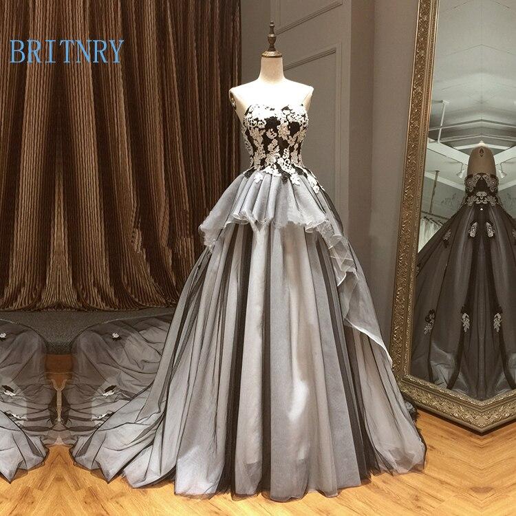 Vestido de novia Vintage con encaje de novia de color champán y negro vestido de novia de talla grande - 2