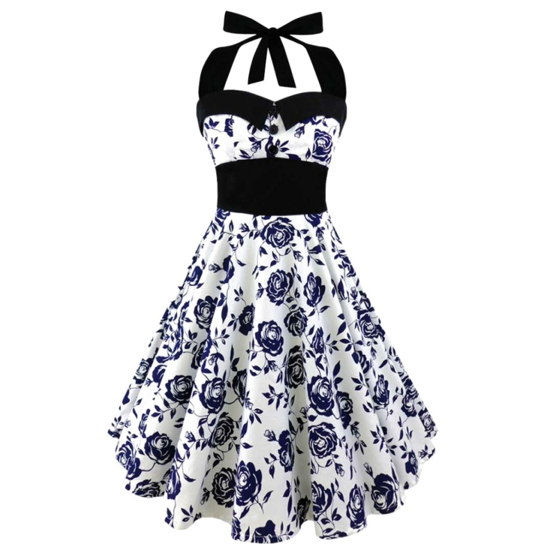 Memories j Store 2017 Summer S-5XL Large Size Printed Dress Women Punk Strapless Halter Party Dresses Bowknot Self Gothic Vestidos Clothing Swing