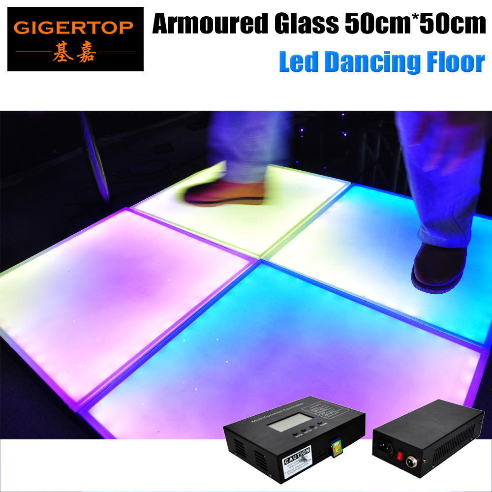 Gigertop 50cmx50cm Toughened Glass Led Stage Dancing Floor Waterproof IP65 Outdoor Power/Signal Cable SMD 5050 3 IN 1 RGB Lamps
