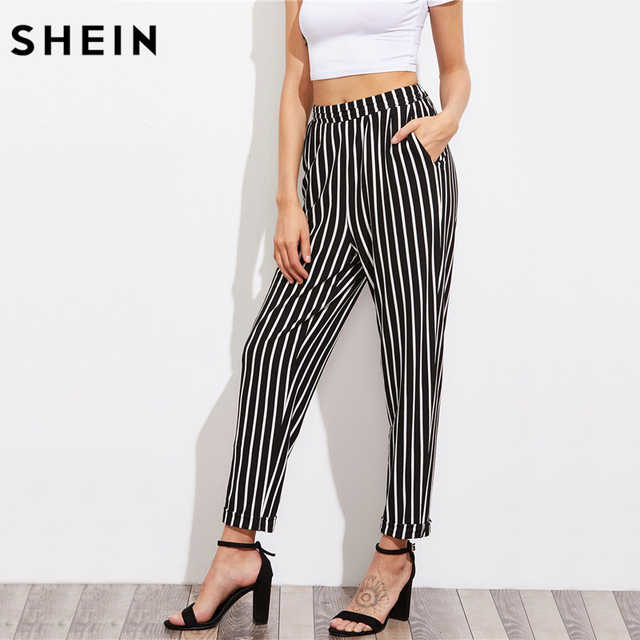 2b912a945dfe SHEIN Pleated Waistband Pinstripe Peg Pants With Hidden Pocket High Waist Trousers  Elastic Waist Black and