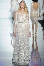 Elie Saab Neue Abendkleider Sheer Neck Langarm Elegante Eine Linie Spitze Tulle Bodenlangen Maß formales Kleid