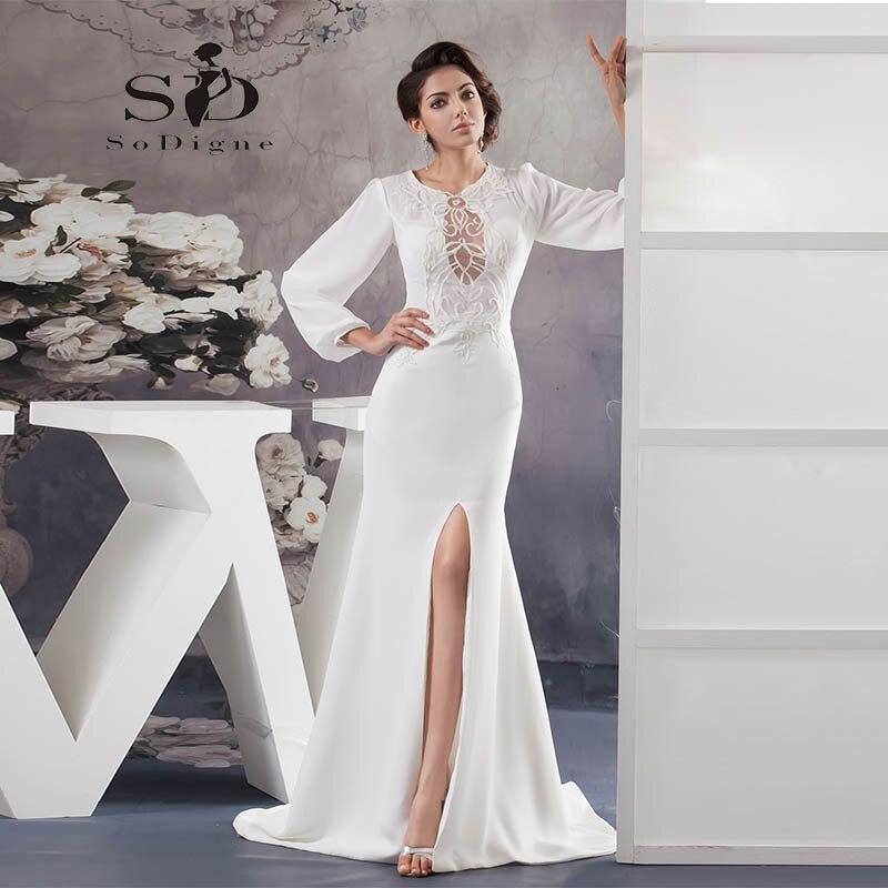 Вечернее платье 2018 SoDigne Платье на заказ Vestidos De Fiesta largos Elegantes с кружевными рукавами и шифоновым вырезом сбоку