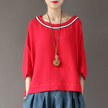 Women Summer Bat Sleeve O-neck Loose T-shirts Big dimension Embroidered Loose Double Cotton Tee shirts Tops O-neck t shirts Batwing