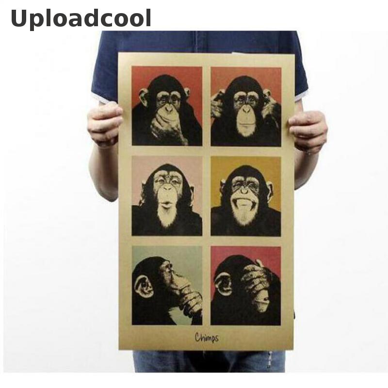 Uploadcool _ Vintage Poster Gorilla Kitchen Bar Counter Ornament Retro Kraft Posters Book, Poster Movie Wall Stickers 51*35.5 Cm