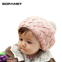 SOPAMEY Brand Winter Warm Cap Boy Girl Hat Cute Hedging Cap Kids Hats for Girls Knit Baby Hats Beanie Candy Color Toddler 2017