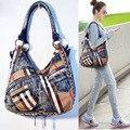 2017 new arriaval shoulder bag cross-body bag England style vintage casual plaid jeans bag big handbag women