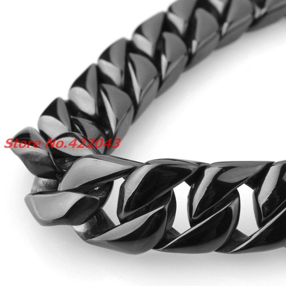 24 15 MM Heavy Cool Zwart Kleur 316L Rvs Mens Curb Cubaanse Collier, Mode sieraden Voor Mens Jongens 203g Keten - 5