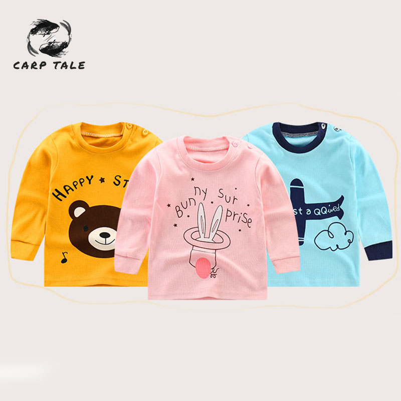Boys and girls long sleeved T shirt cotton bottoming shirt spring and autumn cartoon children 39 s clothing children 39 s baby shirt in Tees from Mother amp Kids