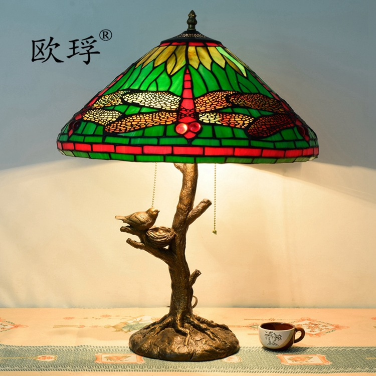 American Pastoral Green Tiffany Stained Glass Dragonfly Table Lamp Bar  Retro Personality Living Room Bedroom Lamp