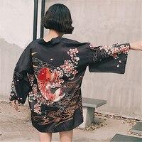 Fashion Japanese Style Black Kimono Sun Clothing Summer Female Summer Carp Pattern Chiffon Cardigan Kimono Women