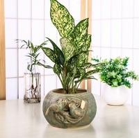 Retro Ceramic Bird Lovers Relief Flower and Plant Pot Decorative Pottery Vegetation Planter Gardening Ornament Craft Supplies