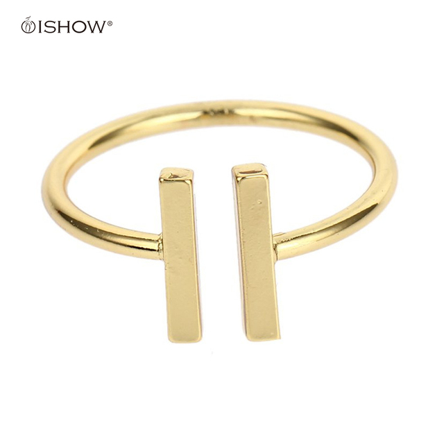 New Women Men Rings Gold Color Jewelry Open Bar Double Parallel