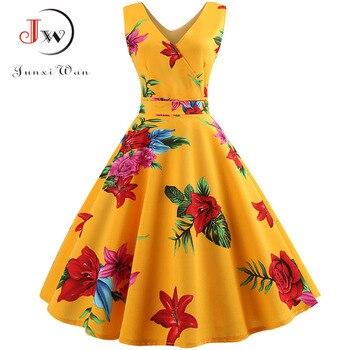 Sommer Frauen Kleid Elegante Vintage Floral Tunika Sommerkleid Sexy V Hals Arbeit Büro Party Kleider Plus Größe Midi Robe Pin up