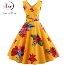 Summer Women Dress Elegant Vintage Floral Tunic Sundress Sexy V Neck Work Office Party Dresses Plus Size Midi Robe Pin Up