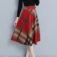 Winter Long Plaid Skirt Women Vintage Thick Plaid Wool Skirts High Waist Big Swing Fashion Maxi Skirts Women Winter Plaid Skirt