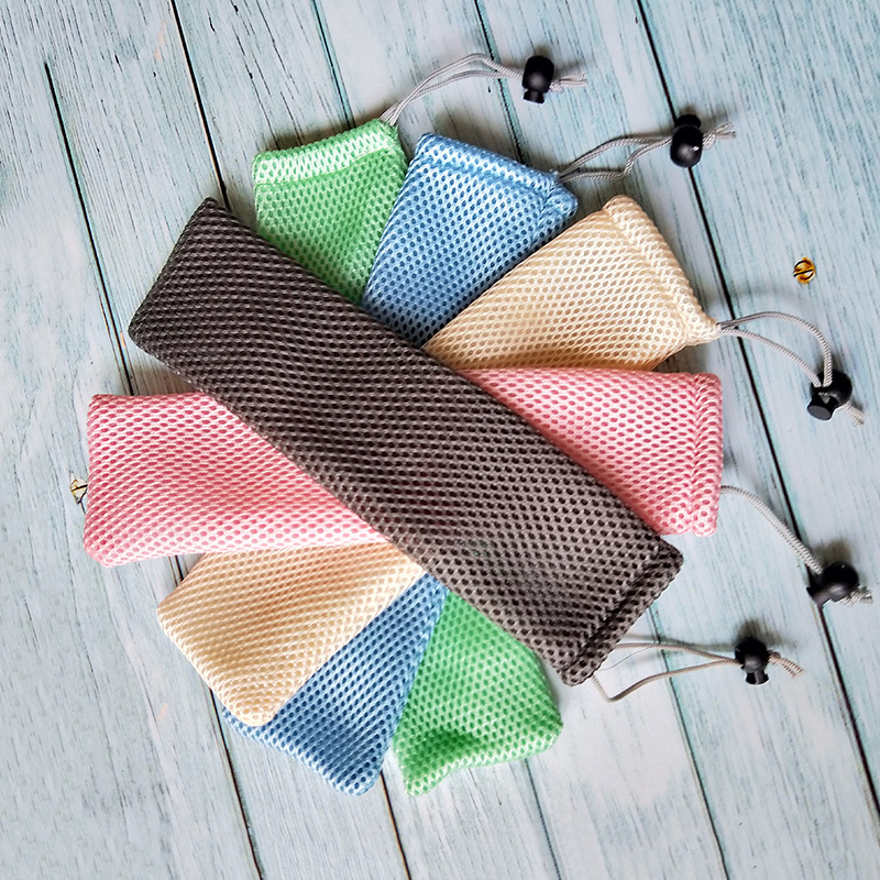 5pcs Portable Reusable Straws With Brush Mesh Bag For Drinks And Juice 4