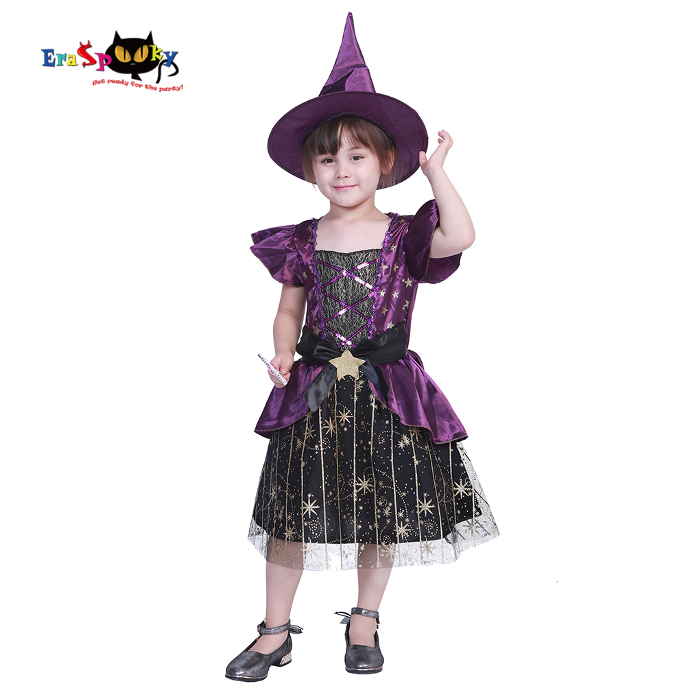 Eraspooky 2018 Halloween Party Costume Kids Purple Witch Costumes Girls Shiny Star Witch Dress Hat Child Cosplay Baby Girl Girls Costumes Aliexpress
