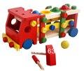 Venta caliente de madera educativo de montaje desmontaje juguete tuerca vehículo tornillo golpee juguete del bebé bolas