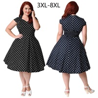 8xl large size short sleeve v neck tunic swing dress Cotton women summer polka dot dress Plus size dresses for women 4xl 5xl 6xl