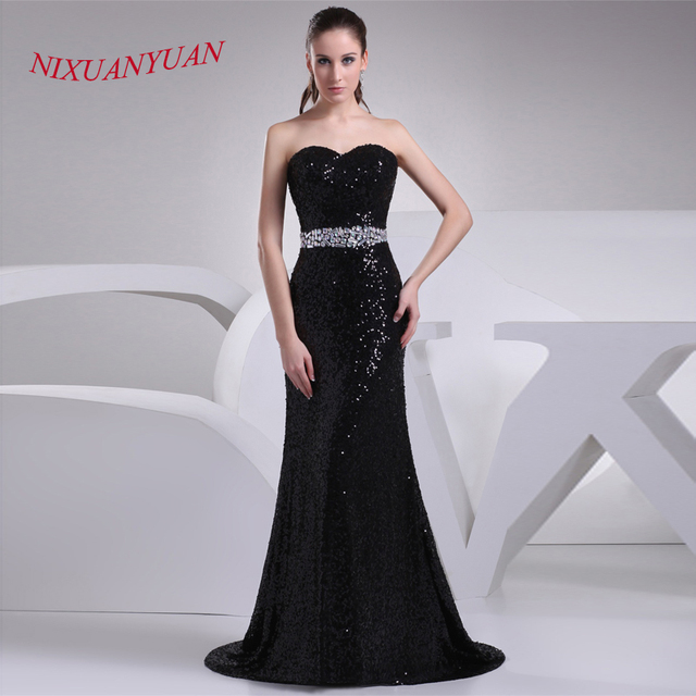 NIXUANYUAN 2017 Custom Made Black Sequined Floor Length Gown ...