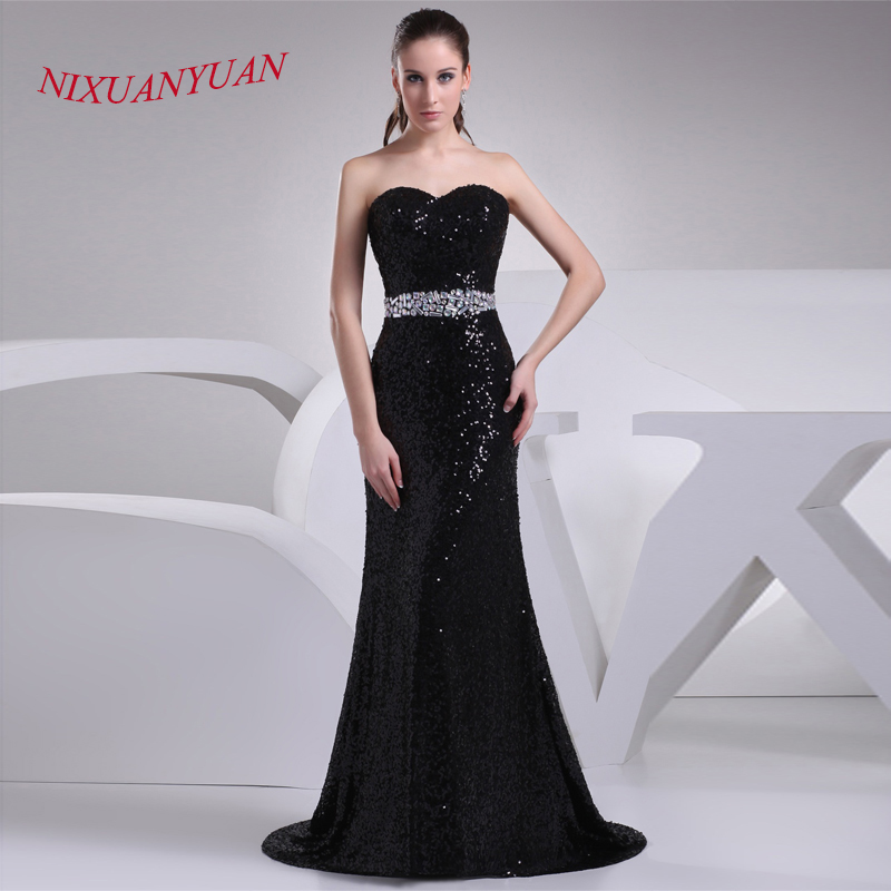 NIXUANYUAN 2017 Custom Made Black Sequined Floor Length Gown Sweetheart Mermaid   Bridesmaid     Dress   2017 Crystal Vestido de dama de