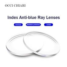 Anti mavi tek vizyon reçine lensler asferik lensler miyopi hipermetrop reçete gözlük UV400 optik Lens özelleştirilmiş