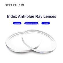 Lentes asféricas anti azuis da resina da visão única para a lente ótica uv400 dos óculos da prescrição de miopia hyperopia personalizada