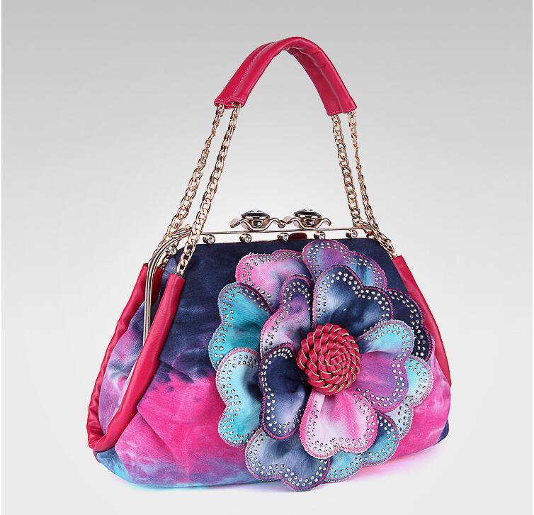 2019 Nova Designer Mulheres Bolsa Colorida Flor