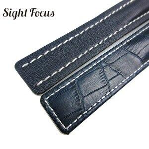 Image 5 - Skórzane paski do zegarków ze skóry cielęcej do paska do zegarków Breitling 20mm 22mm 24mm skórzana bransoletka czarny brązowy niebieski pasek do zegarków Masculino