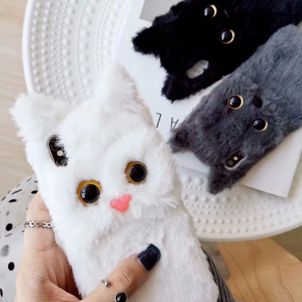 KIPX1047_3_JONSNOW Hairy Phone Case For iPhone XS XR 3D Cat Warm Winter Fur Plush Cases for iPhone 6 6S 7 8 Plus XS Max Back Cover