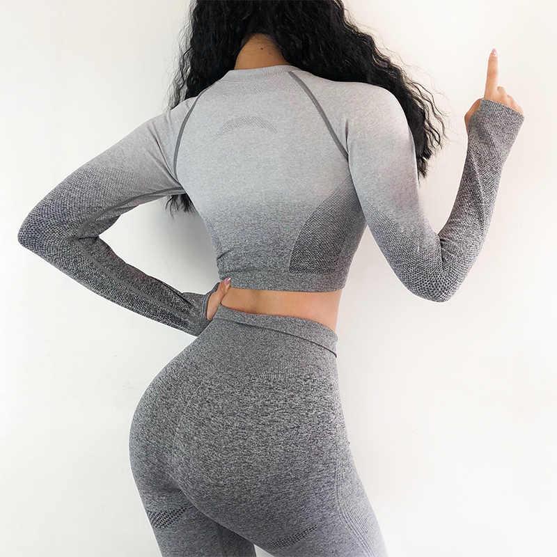 2 PCS Yoga Set Mulheres Longas Topos Das Culturas de Manga E Cintura Alta Tummy Controle Esporte Leggings Gym Roupas Ombre Sem Costura terno do esporte