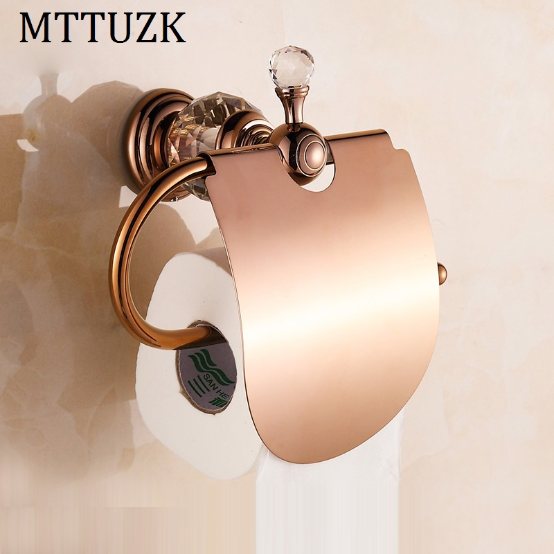 MTTUZK Luxury crystal brass gold paper box roll holder toilet gold paper holder with cover tissue box Bathroom Accessories luxury brass gold toilet paper box roll holder bathroom accessories bath hardware crystal metal paper holder