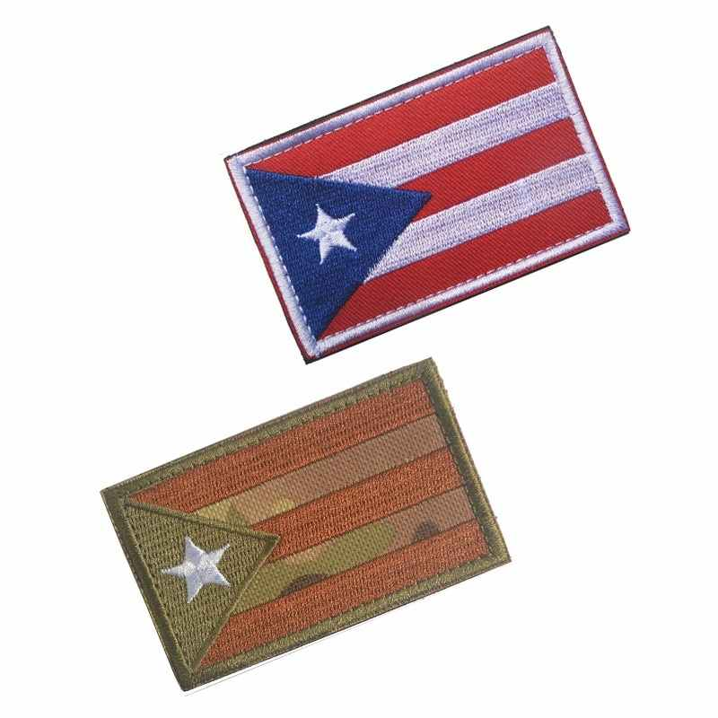 Puerto Rico Flag Bordir Lambang Nasional Puerto Rico Patch Semangat Taktis Patch HOOK LOOP Lencana Camo Patch