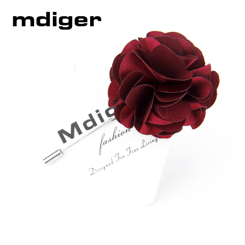 Mdiger Fabric Wedding Flower Brooch for Suit Men Lapel Pin