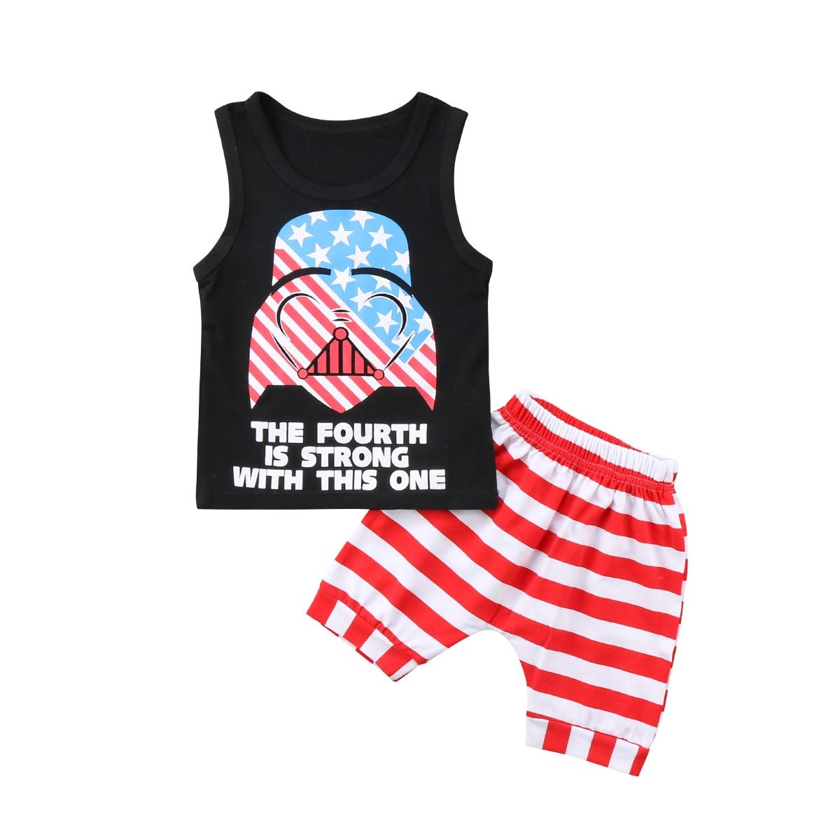 Новорожденный малыш для маленьких мальчиков милые девушки Звездные войны Майки Модные полосатые летние шорты Повседневная одежда