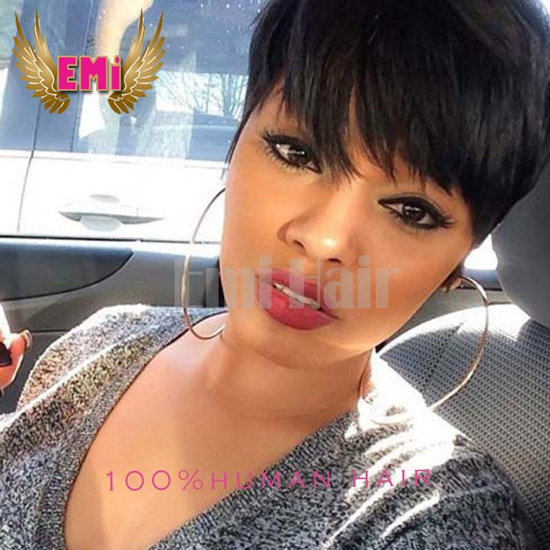 7a Brazilian Virgin Human Pixie Hair Wigs Short Pixie Cut