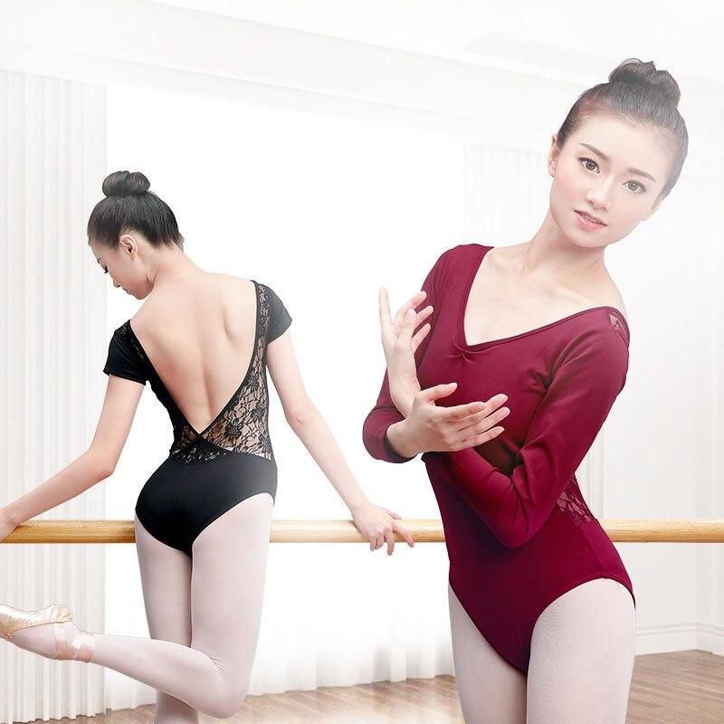 Ladies Long Sleeve Ballet Tight Gymnastics Dance Bodysuit Leotard Cotton /& Lace