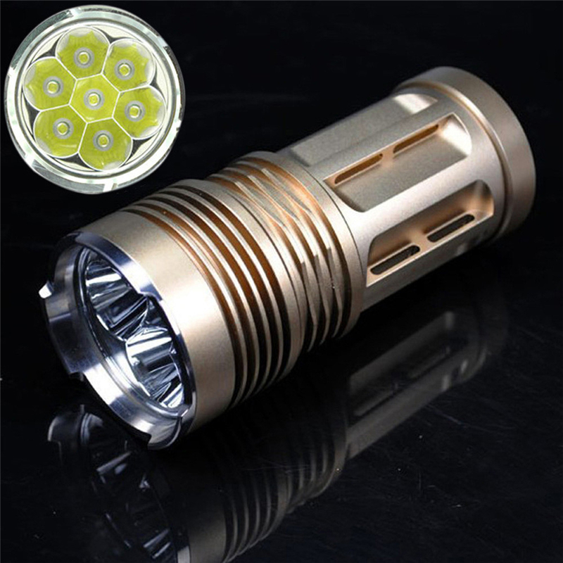 2017 Good Quality Golden 9000 LM 7x XM-L T6 LED 18650 Tactical Flashlight Torch Hunting Lamp Light Max Output 9000 Lumens