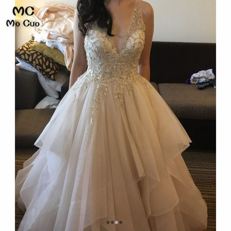 Luxuries 2018 Ball   Prom     dresses   Long with Crystals Deep V-Neck Tulle Backless Graduation   dresses   Evening   Prom     Dress   for Women