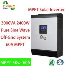 3Kva MPPT Solar Inverter 2400W 24Vdc 230Vac Pure Sine Wave Hybrid Inverter Built-In 60A MPPT Solar Controller AC Battery Charger