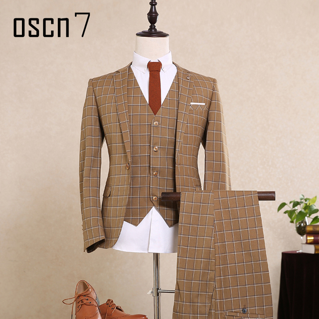 OSCN7 Коричневый Плед Slim Fit Костюм для Мужчин One Button Мода Плюс Размер Свадьба Костюм 3 шт. Терно Masculino (пиджак + жилет + брюки)