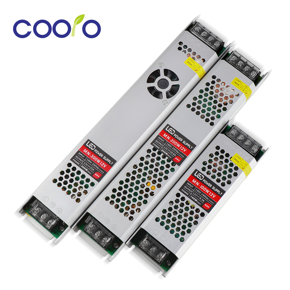 DC12V AC220V 100W 200W 300W Lighting Transformer LED Driver Switching Power Supply Power Adapter For LED Strip led driver transformer waterproof switching power supply adapter ac170 260v to dc48v 200w waterproof outdoor ip67 led strip