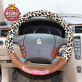 3800 mm automotive interior car cover for steering-wheel in the car women cute cartoon leopard printing car steering wheel cover