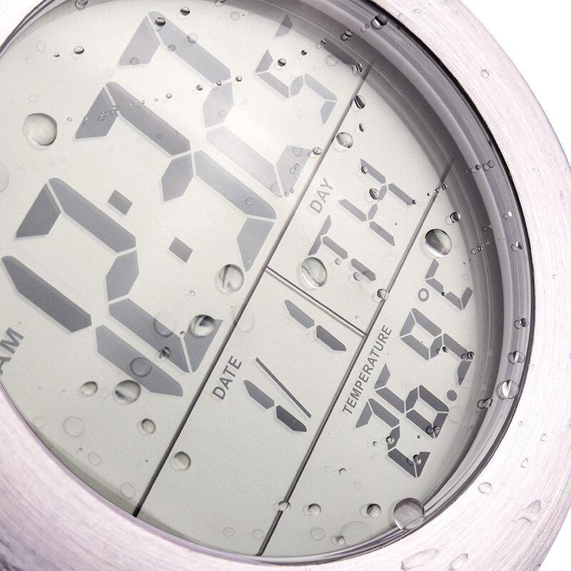 Free led numrique tanche salle de bains lectrique horloge murale moderne design en mtal cas montre mur with miroir salle de bain horloge
