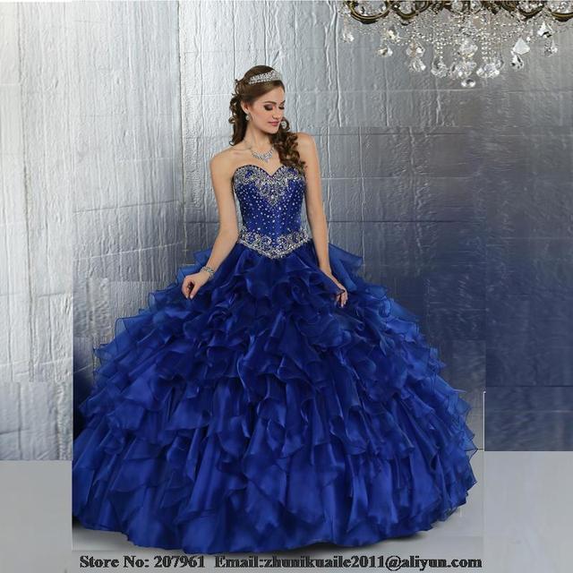 81d5b1c5f Azul real baratos vestidos quinceañera 2016 bata de pelota novia con  cuentas dulce 16 vestidos vestidos