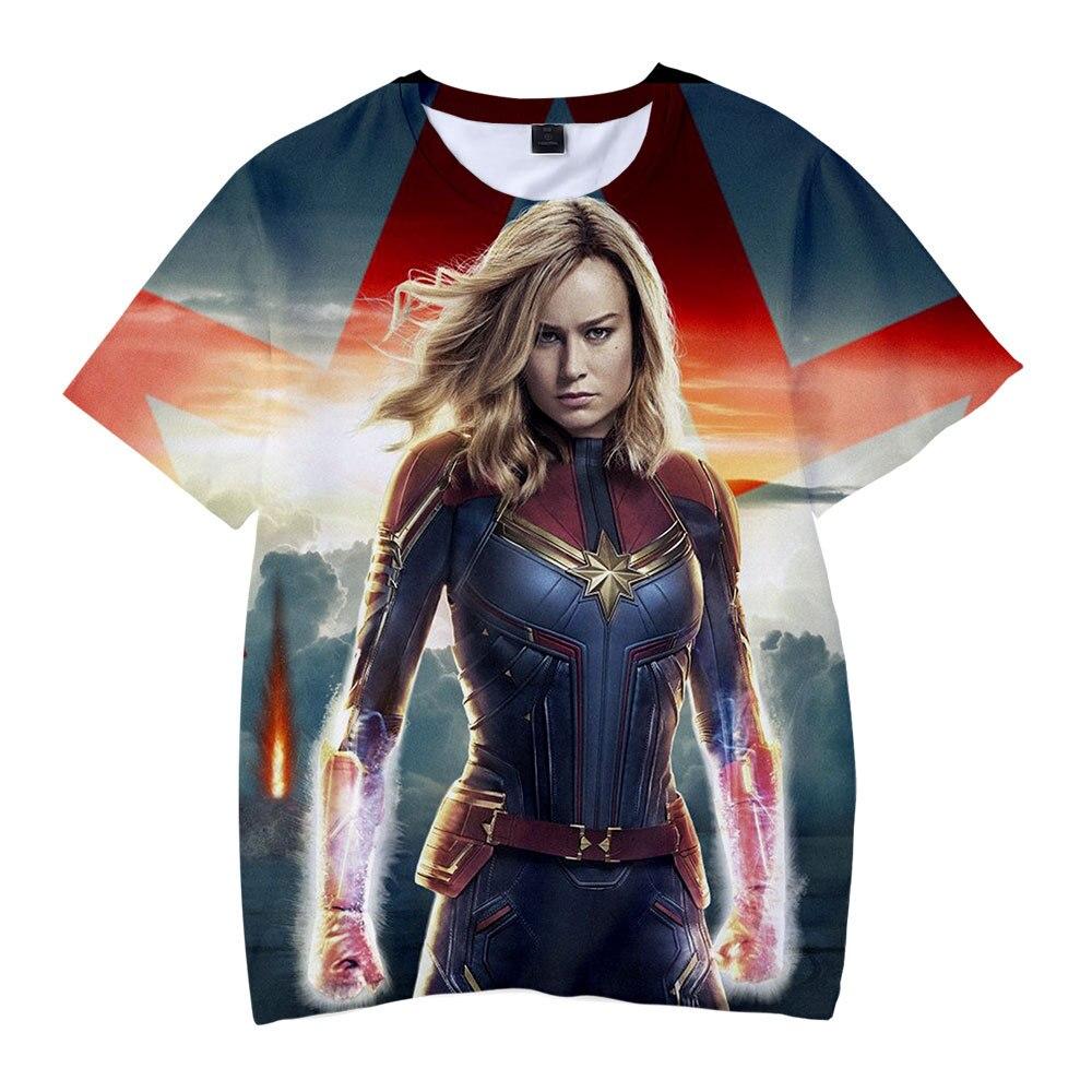 Men Women T-shirt Classic Captain 3D Printed T-shirt Carol Danvers Cosplay Casual Short Sleeve T Shirt Superhero Tee Top