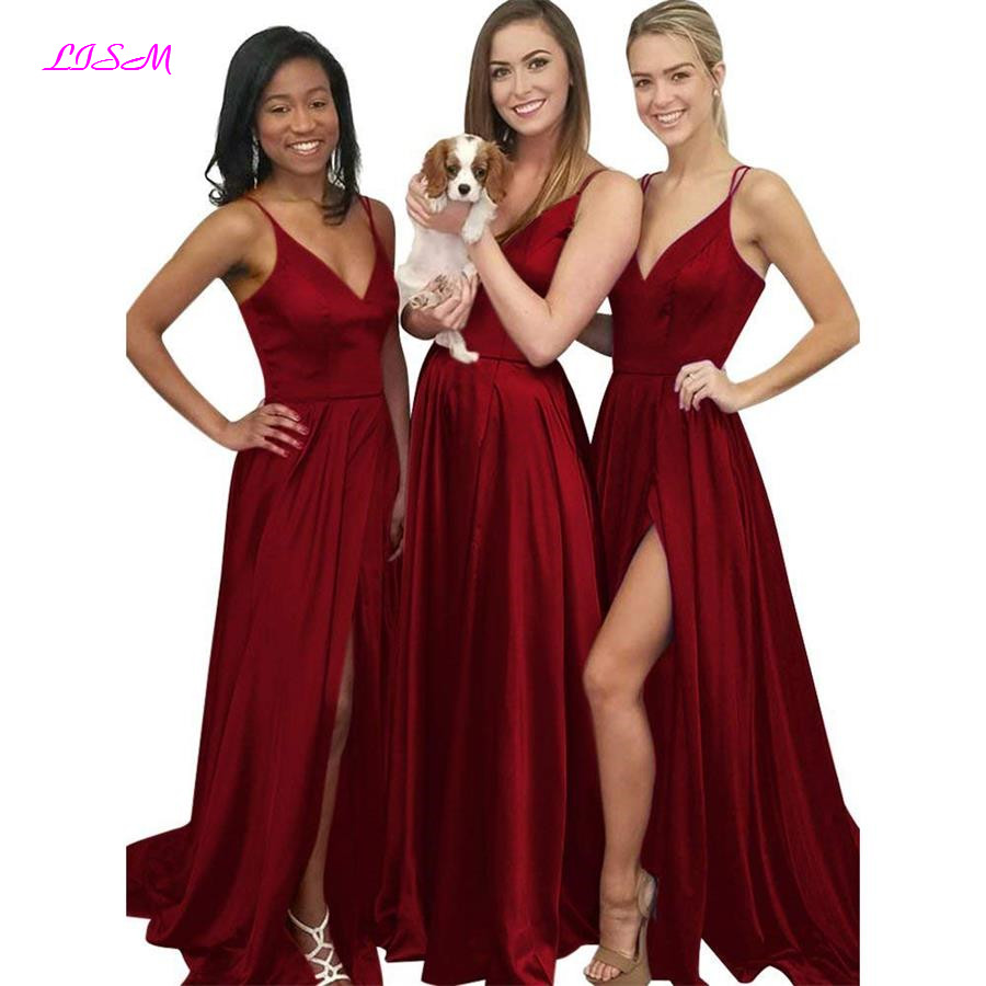 LISM Deep V Neck Straps Long Prom   Dresses   2018 Slit Empire Party   Dresses   Sexy Floor Length   Bridesmaid     Dresses   vestidos de gala