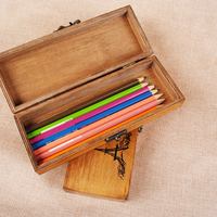 Multifunction Retro Wooden Children Stationery Box Classic Handmade Durable Lockable Old Craft Pencil Case